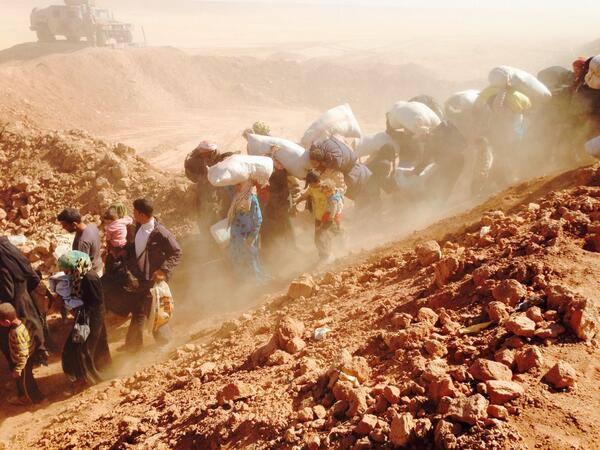 La fuite de la population syrienne le 22 juin 2014, à la frontière Syro-jordanienne