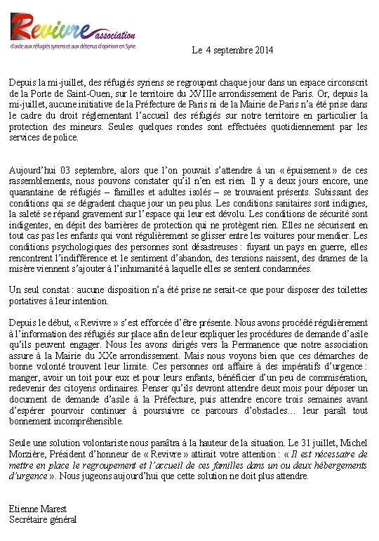 Communiqué 2 Réfugiés Saint Ouen