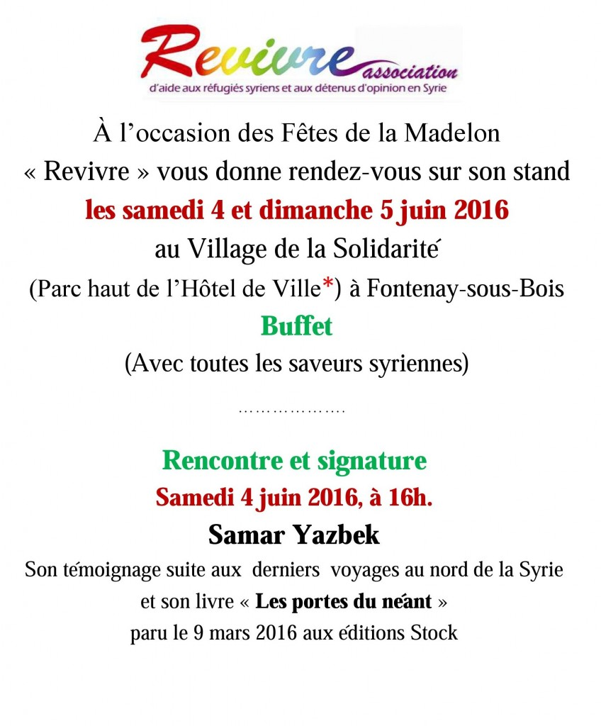 copie invitation stand Revivre Madelon Juin 2016 - Copie